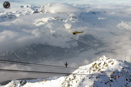 Swiss acrobat Freddy Nock balances onthe cable